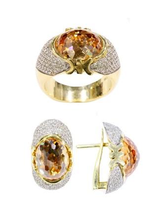 Комплект с бриллиантами и цирконами