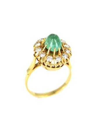 Кольцо бриллианты, изумруд