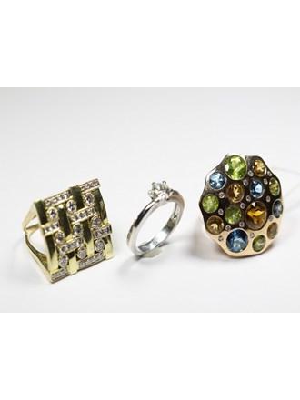 Три кольца бриллианты золото 585