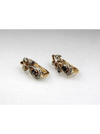 Серьги Золото 585 Бриллианты, сапфиры
