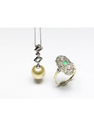 "Кольцо Колье Золото 585"" Бриллианты Изумруд Жемчуг"