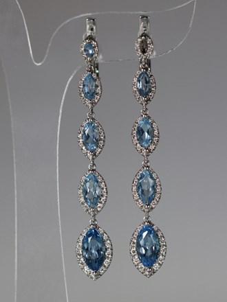 Серьги Золото 585 Бриллианты, голубые топазы