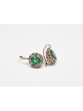 Серьги бриллианты изумруды золото 585