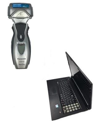 Ноутбук и машинка для бритья