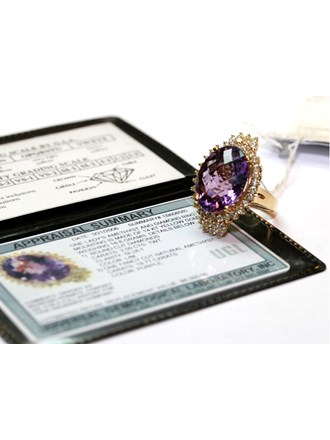 Кольцо с бриллиантами и аметистом, Золото 585*