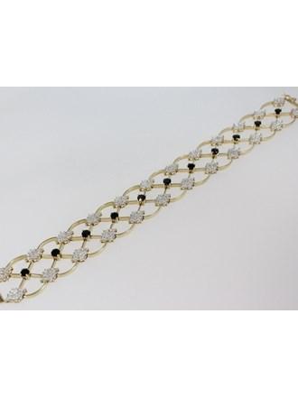 Браслет Золото 585  Бриллианты Сапфиры