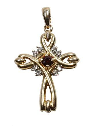 Крест с синтетическим гранатом и бриллиантами