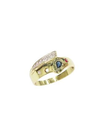 "Кольцо Золото 585"" Бриллианты Сапфир Рубин"