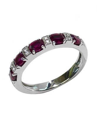 Кольцо с бриллиантами и синтетическими рубинами