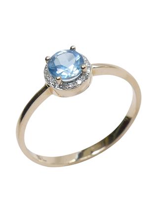 Кольцо с бриллиантами и синтетическим топазом