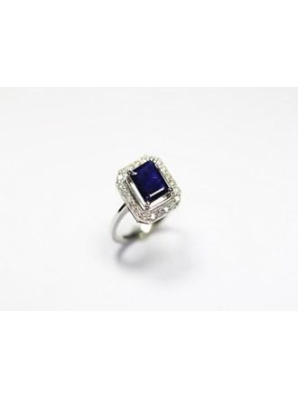 Кольцо бриллианты сапфир золото 585