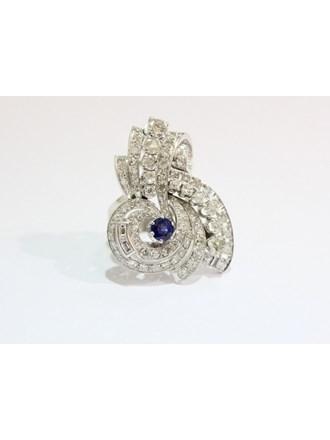 Кольцо Золото 750 Бриллианты Сапфир