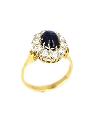 Кольцо с бриллиантами и корундом