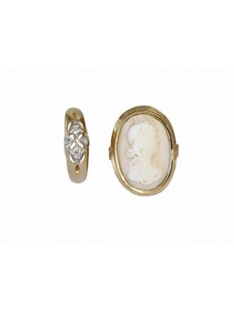 "Два Кольца Золото 585"" Цирконы Камея на раковине"