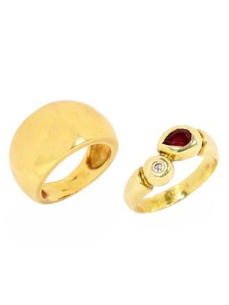 Ювелирные украшения  с бриллиантом и рубином