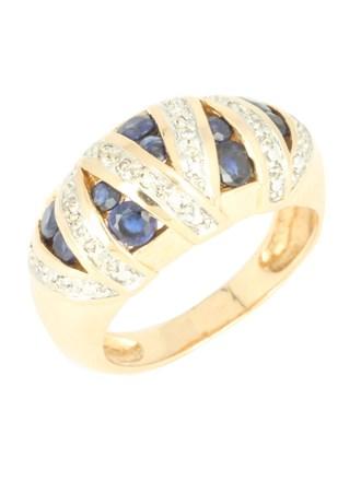 Кольцо бриллианты и сапфиры