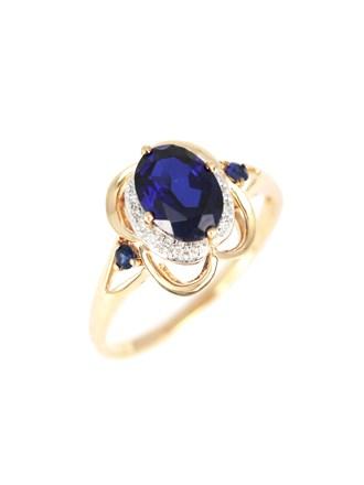 Кольцо с бриллиантами и корундами