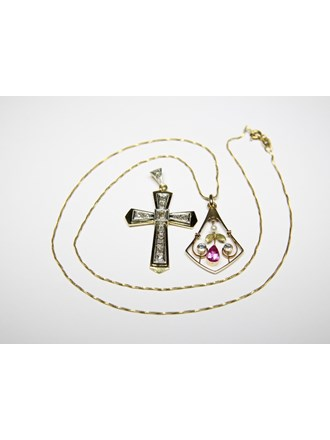Колье Крест Золото750 Топазы, алмазные розы