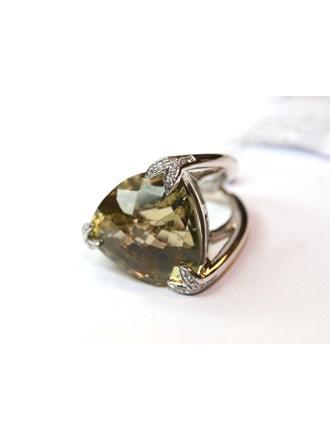 Кольцо Золото 585 Бриллианты, Цитрин