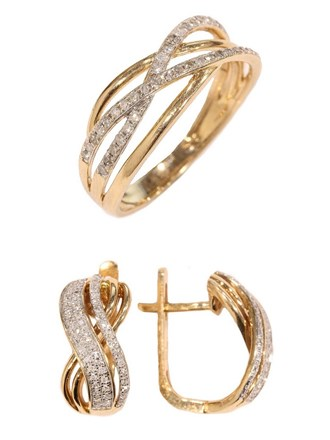 Кольцо и серьги с бриллиантами