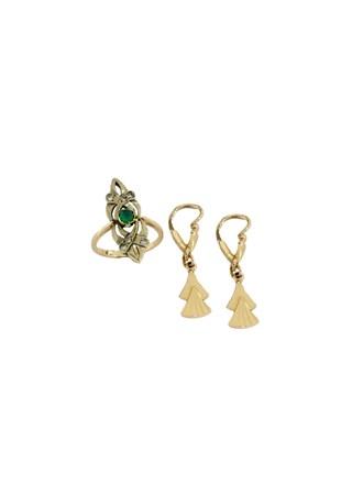 """Кольцо Серьги Золото 585"""" Бриллианты Изумруд"""