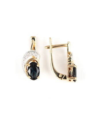 Серьги бриллианты и сапфир