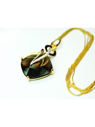 Кулон на цепи с бриллиантом Золото 750