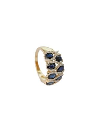 """Кольцо Золото 585"""" Бриллианты Сапфиры"""