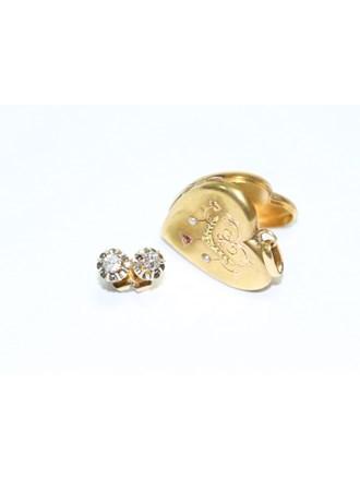 "Серьги Медальон Золото 585"" Бриллианты"