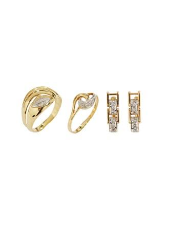 """Серьги Кольца Золото 585"""" Фианиты"""