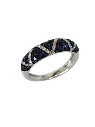 Кольцо с бриллиантами и Сапфирами