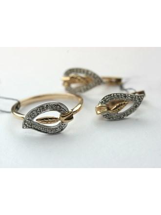 Комплект с бриллиантами, кольцо и серьги, Золото 585*