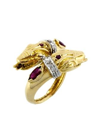 Кольцо Бриллианты Рубины