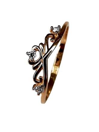 Кольцо с синтетическим камнем золото