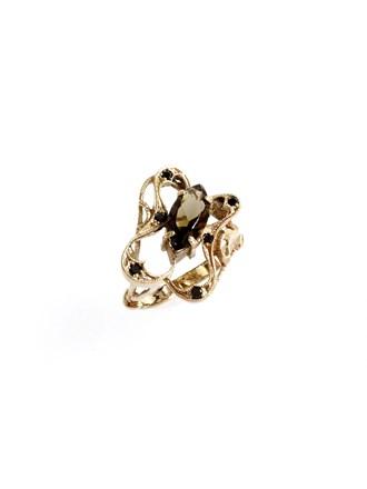 """Кольцо Золото 585"""" Раухтопаз Черные бриллианты"""