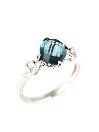 Кольцо бриллианты, топаз Лондон Блю (London Blue)