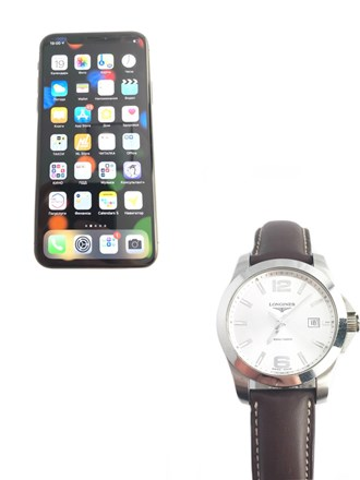 Apple iPhone X и часы Longines