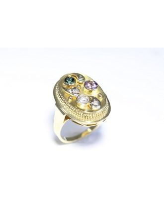 """Кольцо Золото 585"""" Бриллиант Аметист Турмалин"""