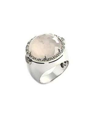 Кольцо с розовым кварцем и бриллиантами