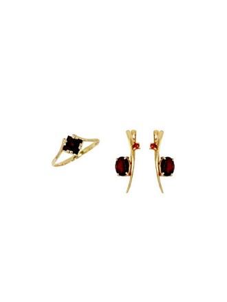 """Кольцо Серьги Золото 585"""" Гранаты"""