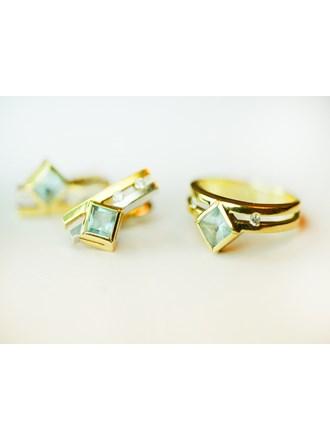 Серьги пара и кольцо с бриллиантами Золото 585