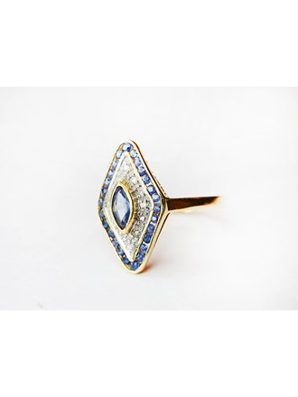 """Кольцо Бриллианты Сапфиры Золото 585"""""""