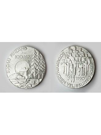 """Монета Финляндия 100 марок 1990 года Серебро 830"""""""