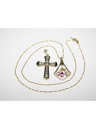 Колье Крест Золото750 Топазы Алмазные розы