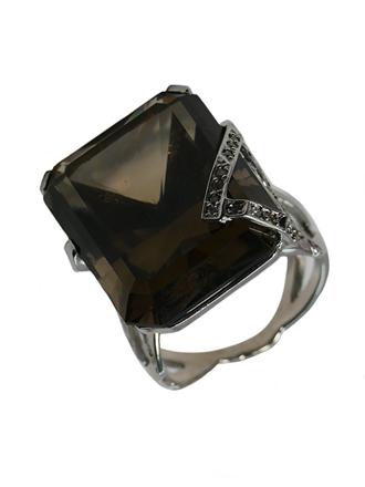 Кольцо с раухтопазом и бриллиантами