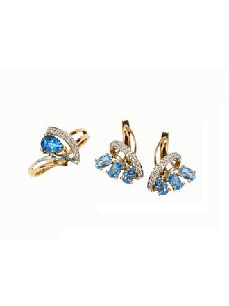 """Кольцо Серьги Золото 585"""" Бриллианты Топазы"""