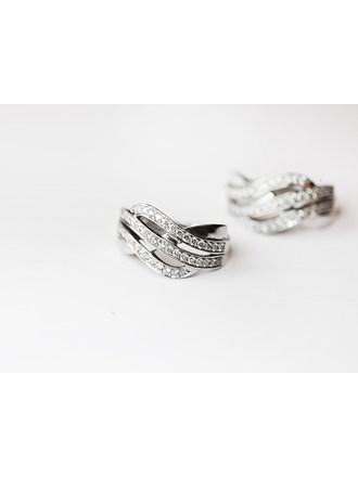 """Серьги пара с бриллиантами Золото Белое 585"""""""