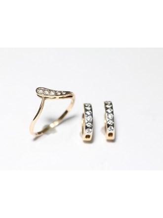 """Кольцо Серьги Золото 585"""" Фианиты"""