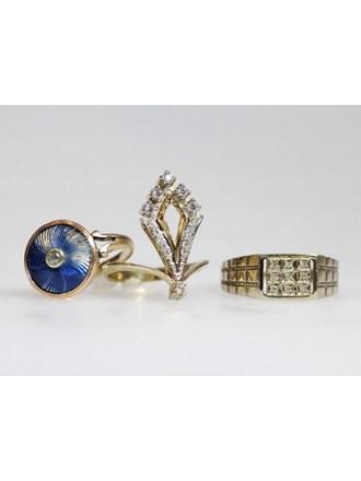 Кольца Золото 585  Бриллианты Эмаль