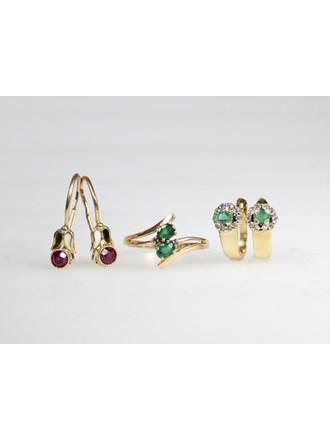Ювелирные украшения. Золото 585. Бриллианты, изумруды